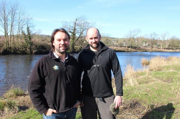 Jack Spees, director of the Ribble Rivers Trust, left, and Mark Rudd, fisheries officer for the Environment Agency,  who are taking in the Ribble Way Challenge