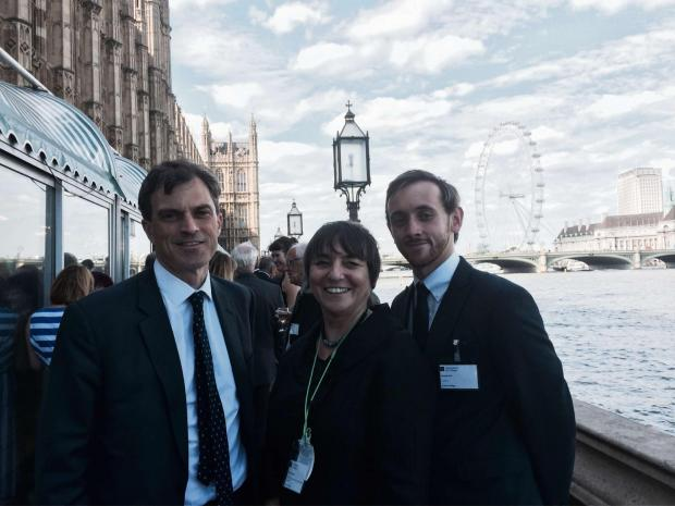 Picture shows Skipton MP Julian Smith, Craven College director of curriculum Rebecca Walker and student Russell Pink