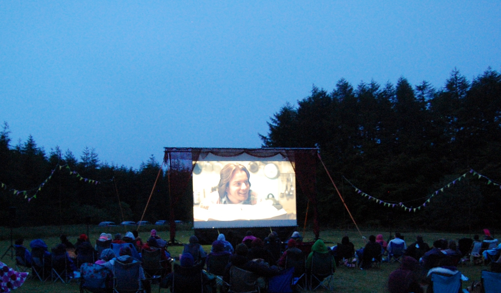 A previous Picnic Cinema event in Dalby Forest