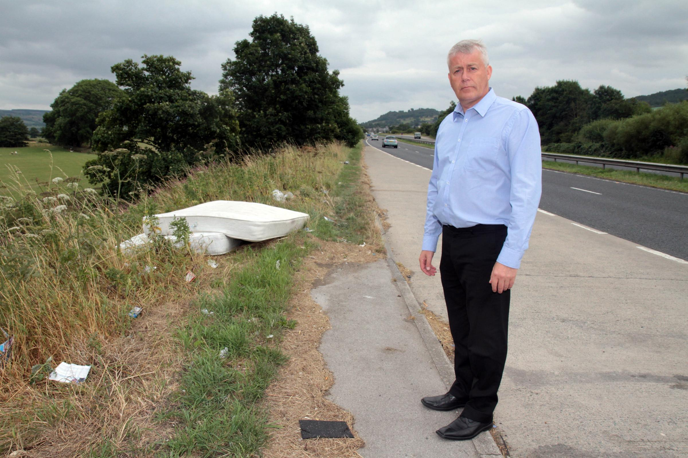 Anger at flytipping by side of Aire Valley Road near Kildwick