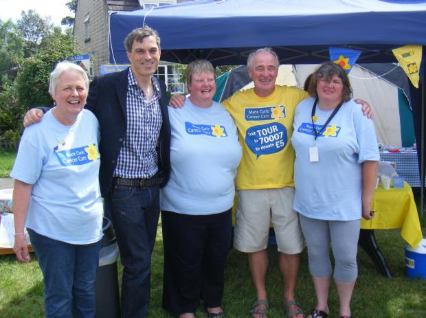 MP Julian Smith (second from left) stopped in at the Blooming Great Tea Party in Giggleswick on Saturday. Also pictured are Kath Metcalf, Sandra Kay, Mike Bridgman and Erika Lynn.