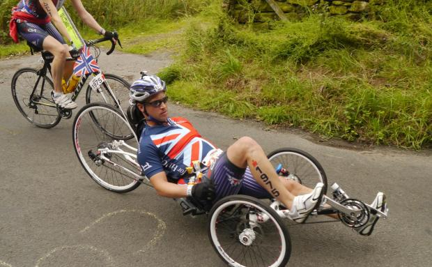 Rob Cromey-Hawke, who has been selected for the 130 strong British Armed Forces Team for the Invictus Games. The picture was taken during Ironman UK in July.