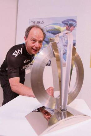 Craven Council chief executive Paul Shevlin examines the Tour de France Trophy in the Craven Museum