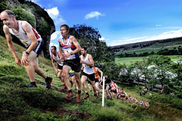 Garnetts Year - As the lactic acid builds up in the leg muscles a fell runner stoops forward trying to ease the pain whilst accending Kilnsey  Crag Fell Race . (9698278)