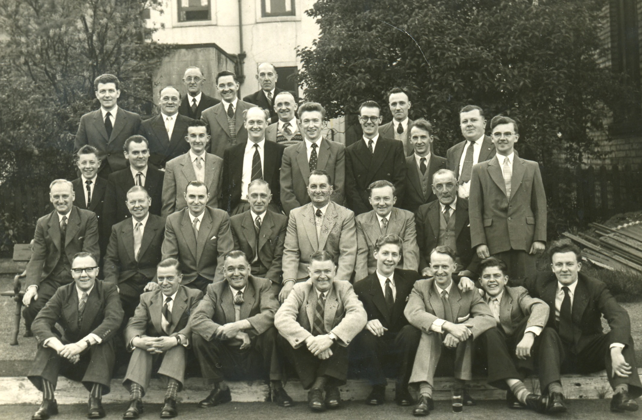 Nostalgia: Former Craven Herald & Pioneer workers, possibly taken around the back of the office. Possibly from 1958-59.