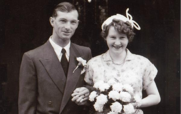 Edgar and Flo Mallinson on their wedding day