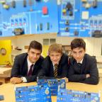 Craven Herald: Ermysted's Grammar School pupils Fernando Georgiou, Tom Crossley and Oscar Clements