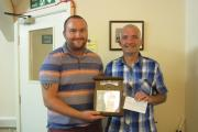 Scott Clarkson (left) receives the Shaw-Greening Award from Earby Town Counc