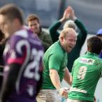 Craven Herald: Chris Steel shows what victory means to Wharfedale after three defeats in which they have conceded a total of 154 points