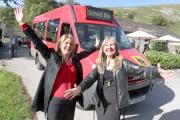 Grassington Hub takes delivery of a new Community Bus. Picture shows Hub manager Ann Wild and Jools Hand celebrate the arrival of the new facility. (11049662)