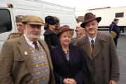 Dale Elsworth with his parents, Brian and Hazel, on the set of the new Dad's Army movie