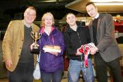 FLASHBACK: the 2013 pork pie champion Janet Green, from Farmhouse Fare, and nephew Robert Ogden receive their accolades from sponsors Robin Moule of Skipton-based PR firm Moule Media, and David Hempel, director of TW Laycock in Keighley