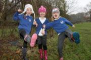 Horton-in-Ribblesdale Primary School pupils Lily Pilkington, Sierra Manning and Rosie Wilson take part in a Forest Schools day