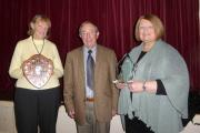 Successful Craven Speakers Club member Sylvia Walker, left, with chief judge Clive Dawson and fellow winner Anne Todd