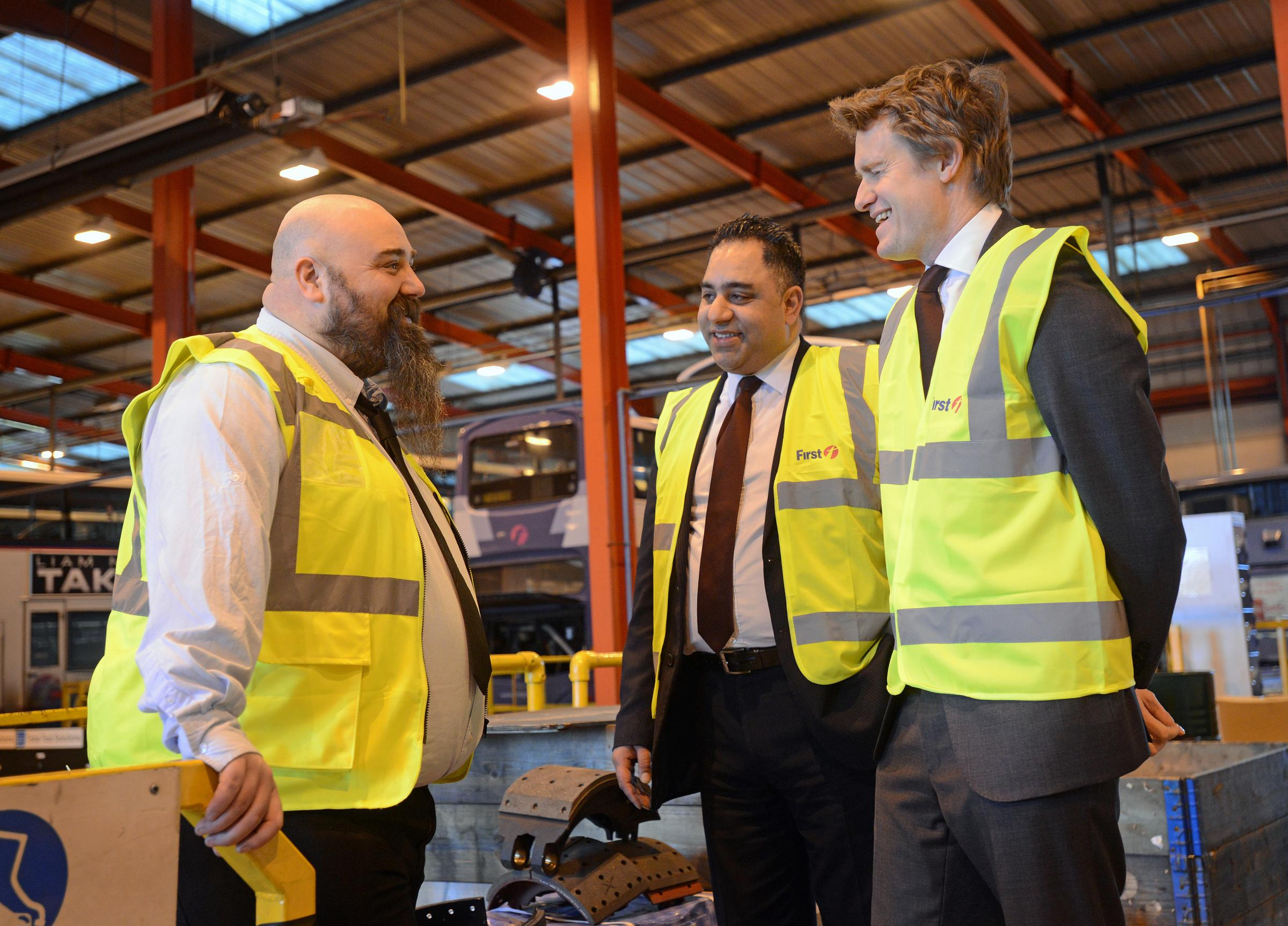Manager Stuart Eyre, with Councillor Imran Hussain and shadow education secretary Tristram Hunt