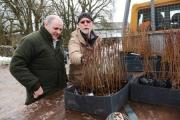 Farmer Steven Crabtree (left), who owns Ormsgill Green Farm at Airton, and Forestry Commission adviser Phil Lyth look at the planting which aims to mitigate flooding.