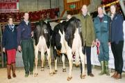 Pictured with the principals in the Skipton ring after the main March Craven Dairy Auction are, from left, Helen Whittaker, of NMR, reserve champion Robin Jennings, judge Frank Wrathall, champion Peter Baul and Megan Thomas, of Shepherd Agri.