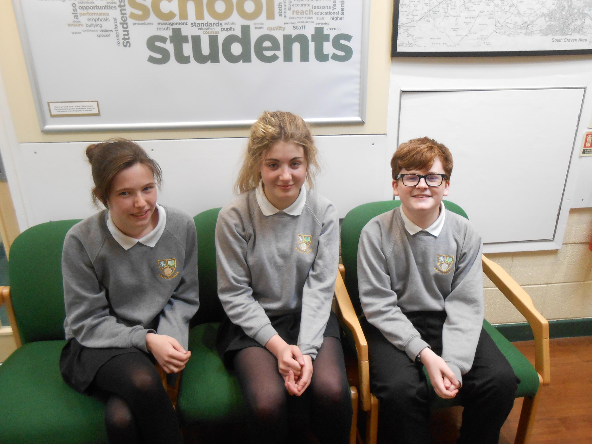 From left, South Craven School Youth Speaks contest competitors Emily Cramby, Matilda Osborne and Sam Burles