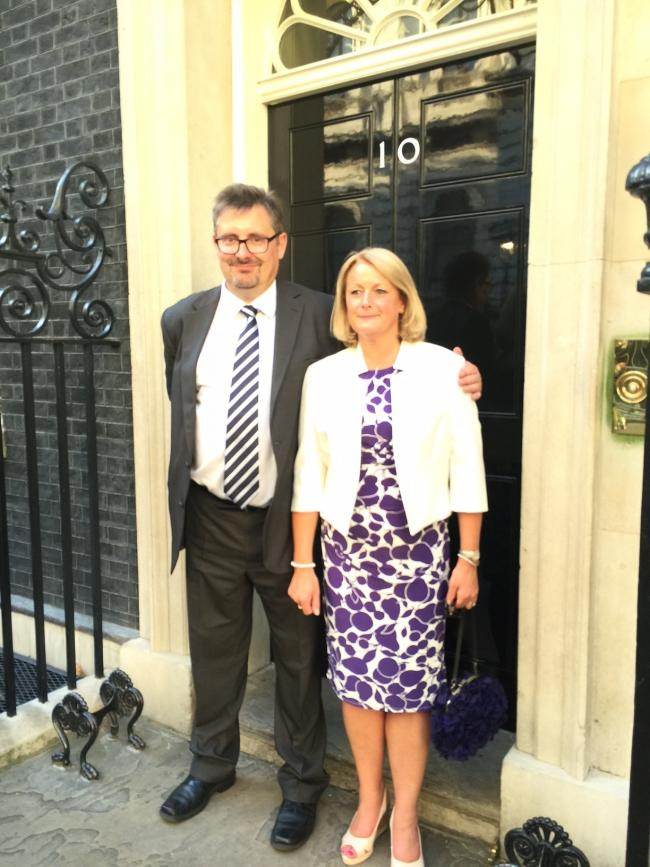 Councillor Catherine Coates and Richard Hunter Rowe, at 10 Downing Street where they were invited in recognition of the hospitality shown to the Prime Minister on his recent visit to Addingham as part of the Tour de Yorkshire