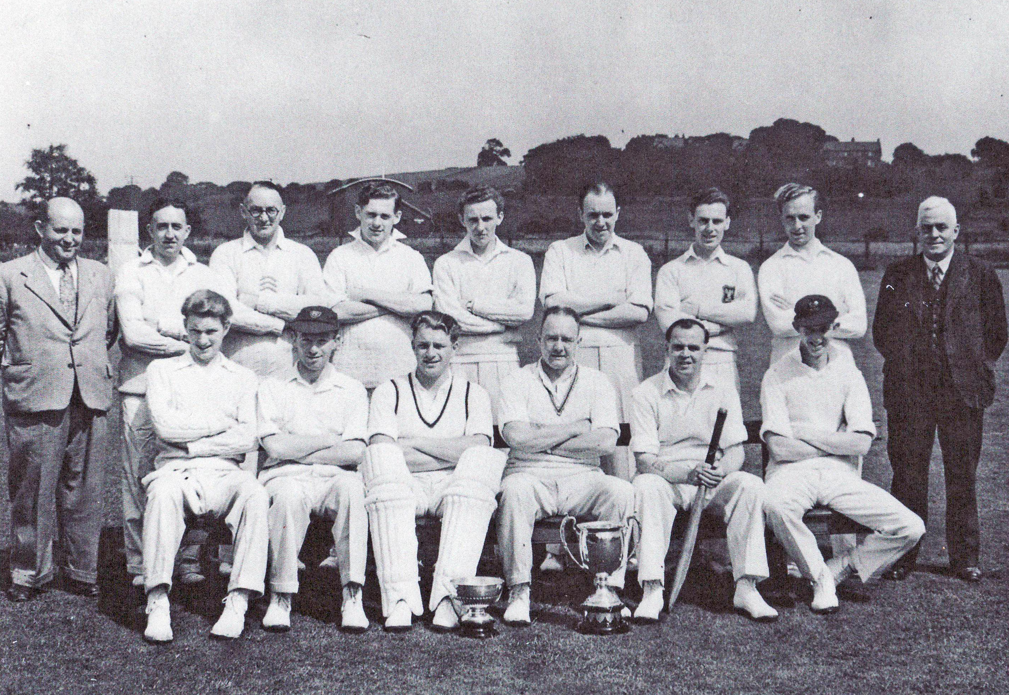 The Barnoldswick cricket squad that won the Ribblesdale Senior League in 1956