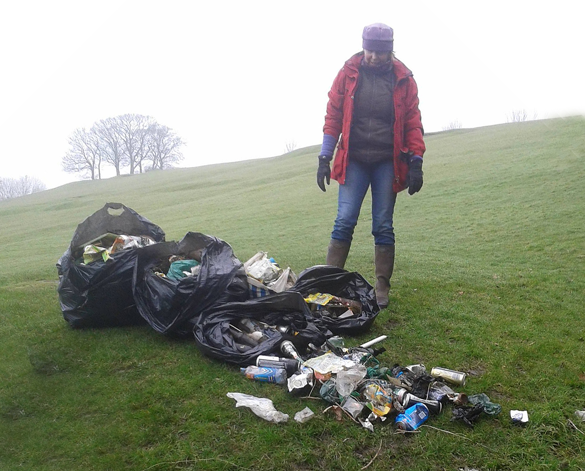 Kathryn Payne with some of the litter she and her family picked up in Aireville Park