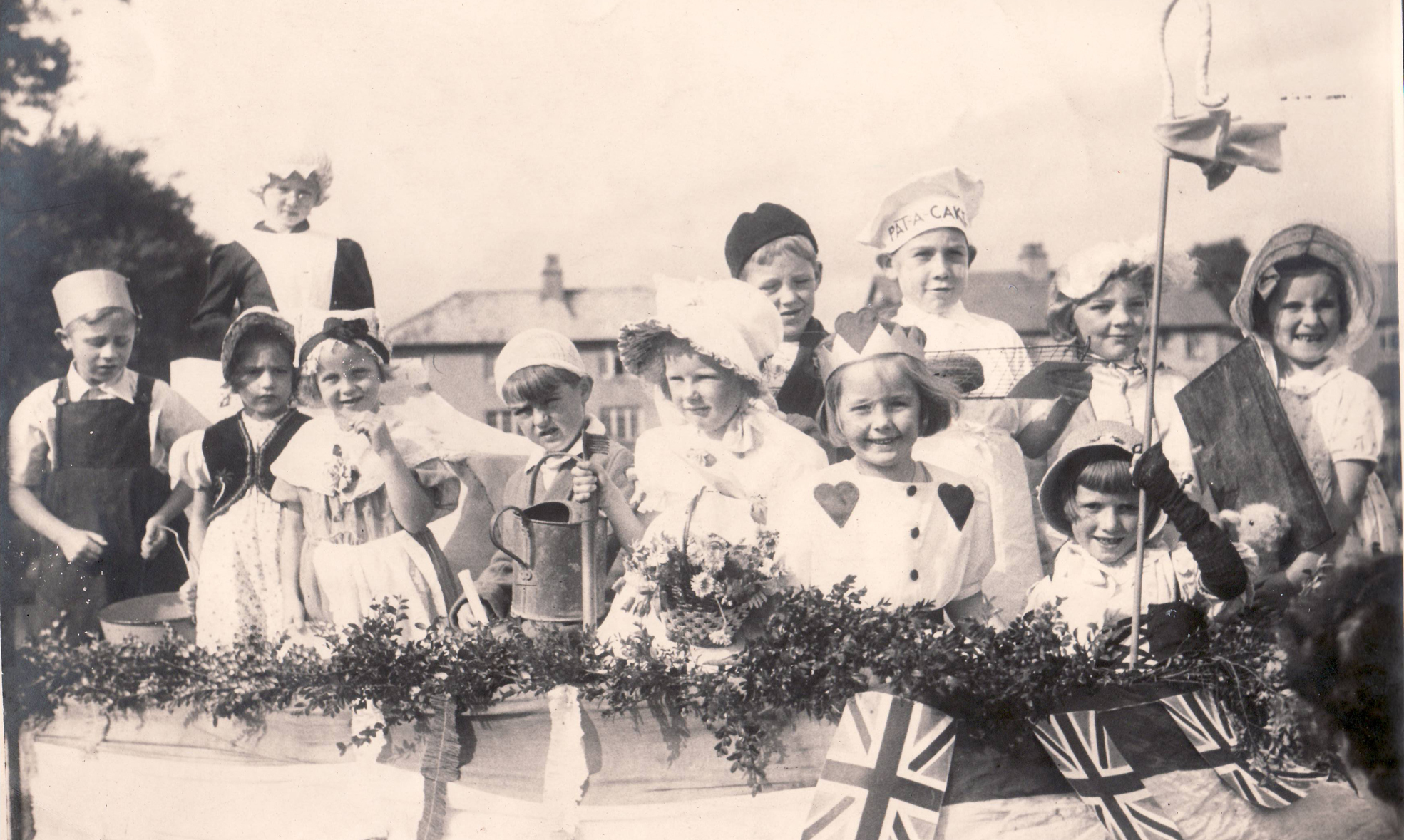 A fancy dress float in Gargrave in 1945