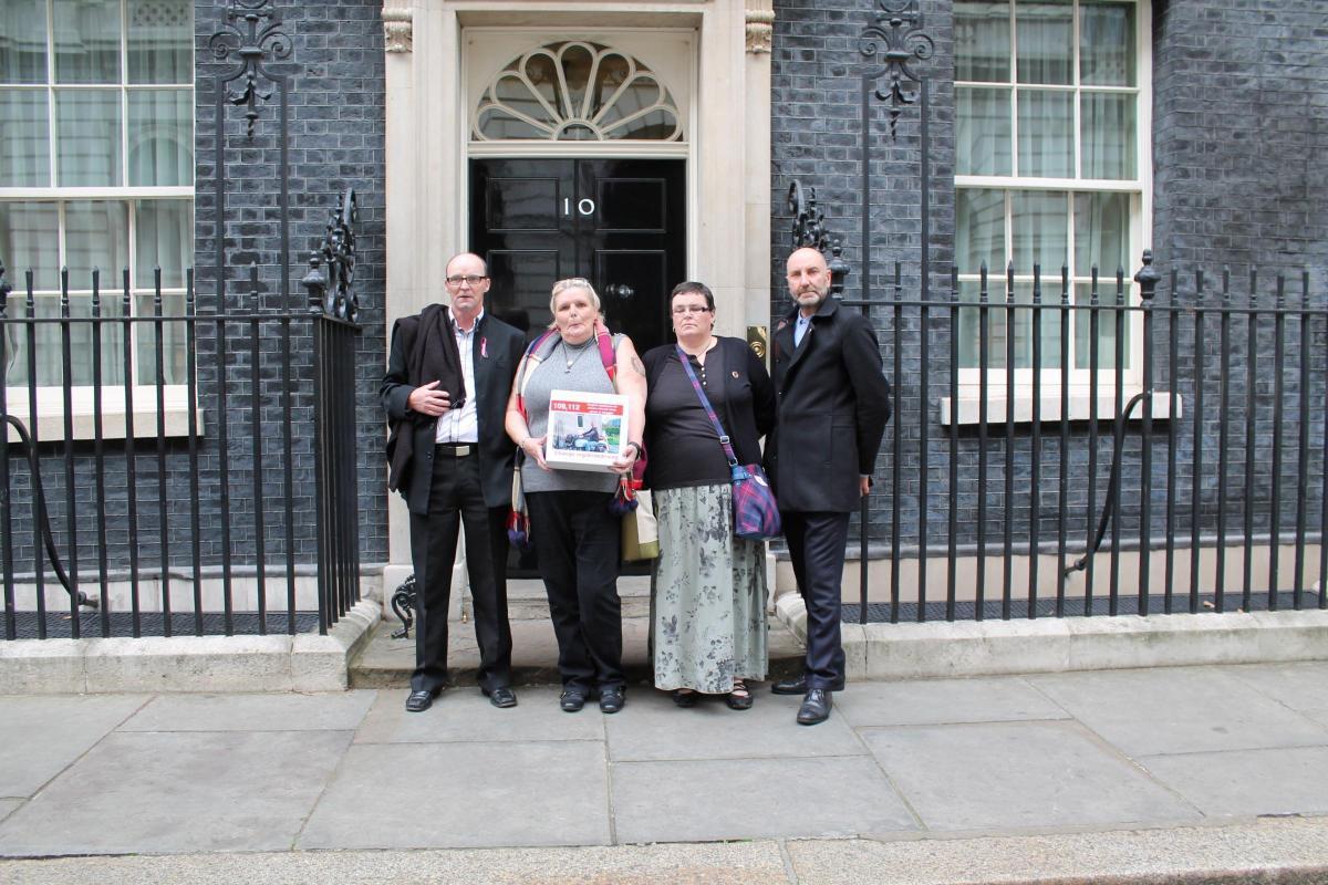 Long Preston widow Lorraine Allaway delivers petition on