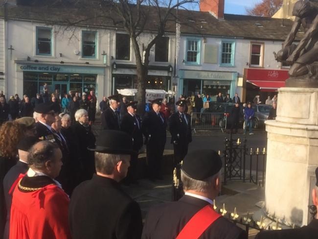 The Act of Remembrance at Skipton war memorial today.