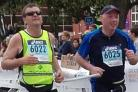From left, Mike Spence and Richard Thompson at the Manchester Marathon