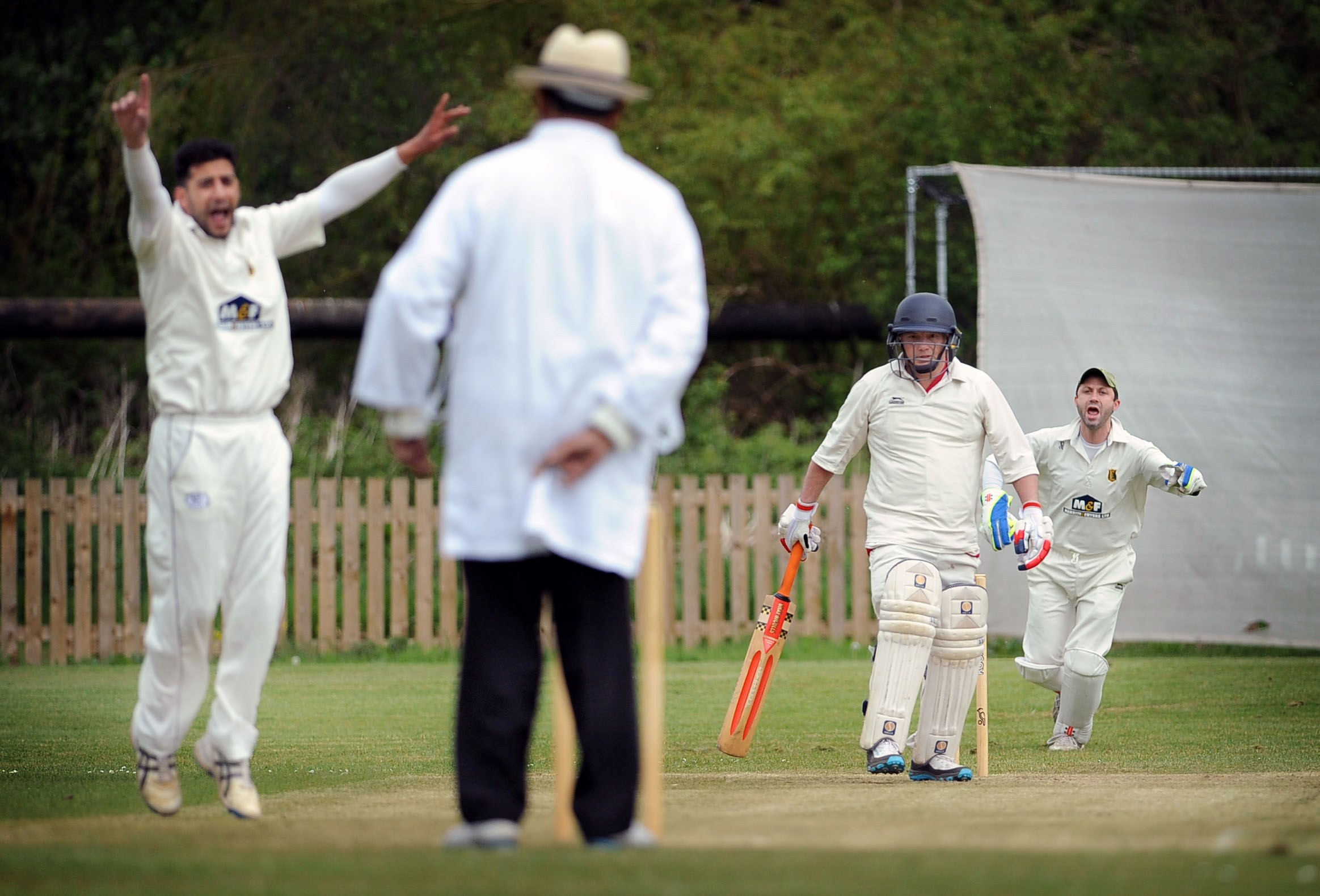 Embsay's Haroon Ali will hope to be appealing like this in Sunday's Wynn Cup final as his side take on Haworth Road