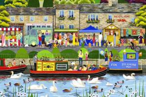 From Canal to Castle - Skipton, a painting by artist Linda Mellin.