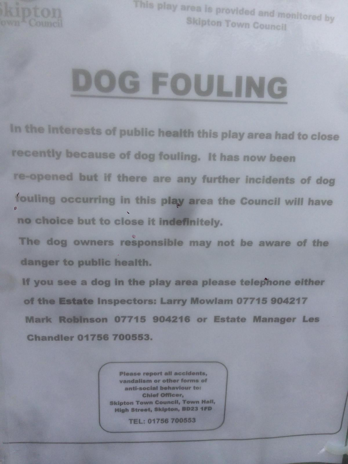 dog fouling closes childrens play area in skipton