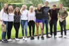 Delighted Giggleswick School pupils celebrate their results.