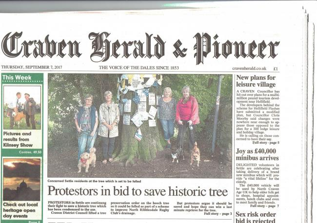 Front page coverage of campaigners in the Craven Herald