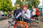 From left, Joseph Healey and his father Dr Chris Healey, who finished the 500 kilometre charity cycle from London to Paris. Photo by Dave Hayward