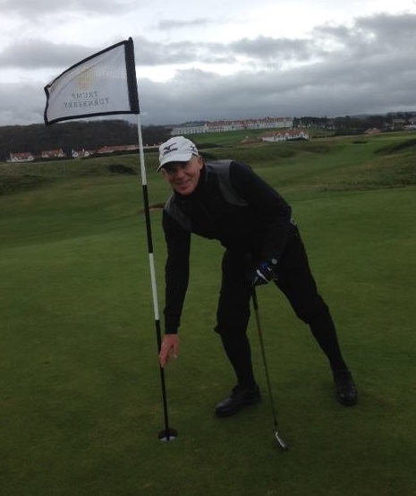 Skipton Golf Club chairman Mick Hirst after his hole in one