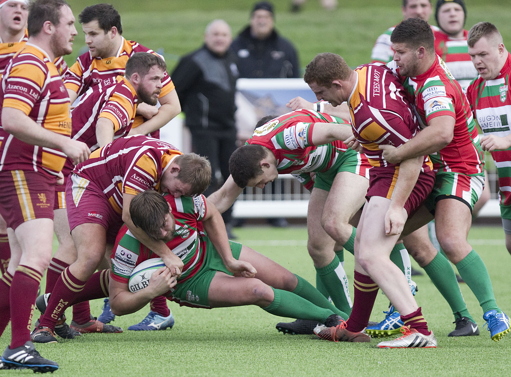 Rob Baldwin goes to ground for Keighley in what was his last game for the club Picture: Charlie Perry