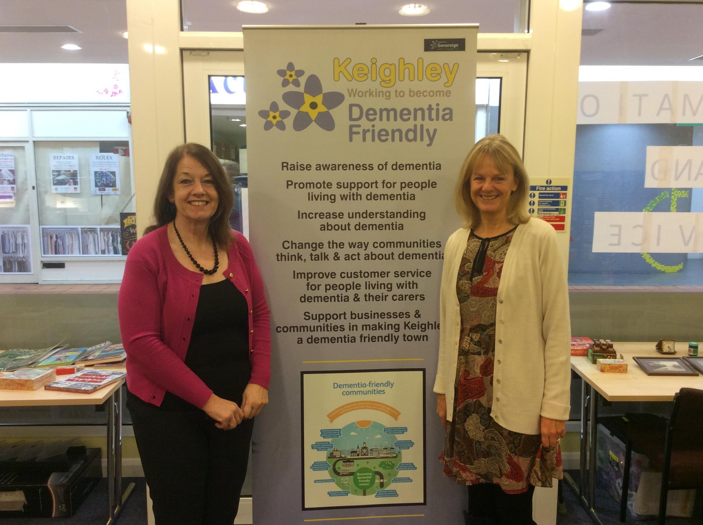 A previous information point run by Dementia Friendly Keighley.