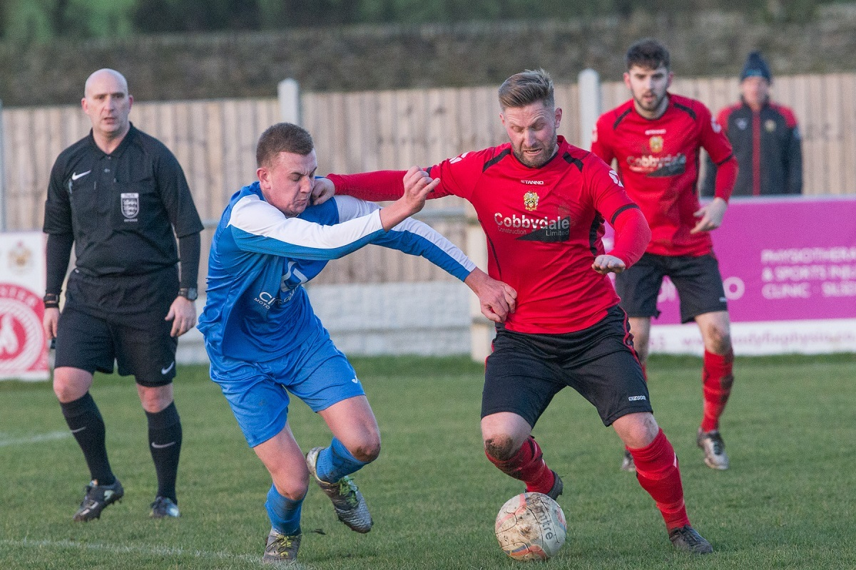 Mark Trueman, pictured on the ball against Eccleshall's Callum Feeney, has left Silsden to join Thackley