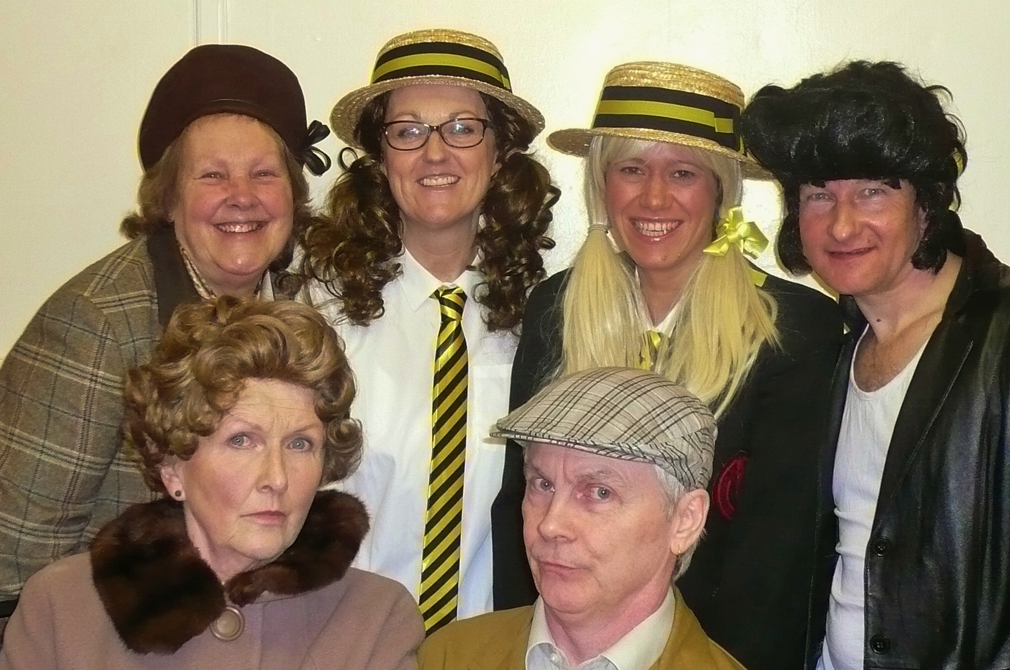 Some of the Austwick Players, from top left clockwise, Elizabeth Booth, Julie Greenwood, Samantha Purcell, Jez Cox, Tony Stephens and Barbara Harrison prepare for Golden Years