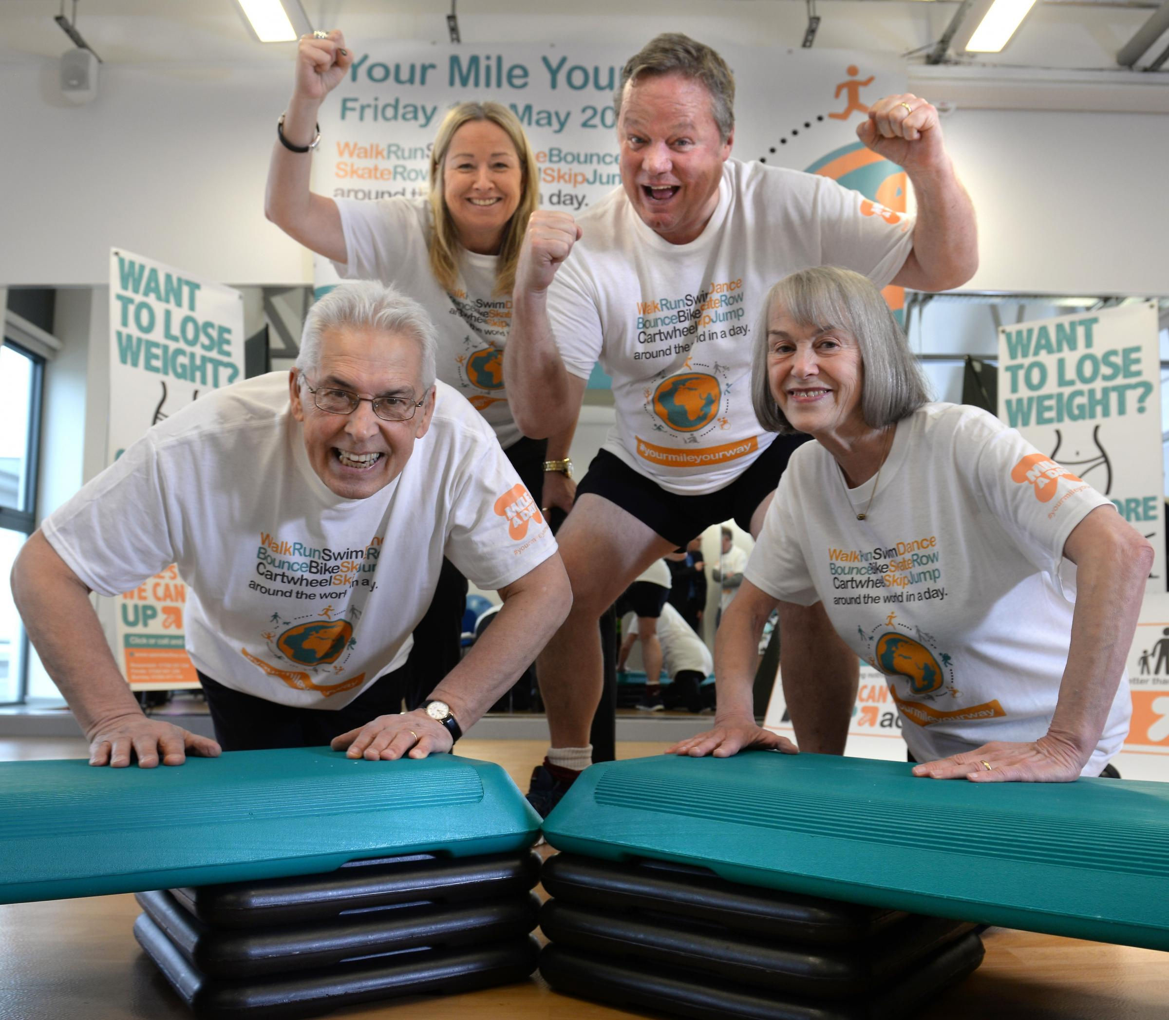 Pendle Leisure Trust's chief executive, Alison Goode, is pictured at the launch with comedian Ted Robbins and Eddie and Kath Forgen, who have both taken part in Pendle's Up and Active programme