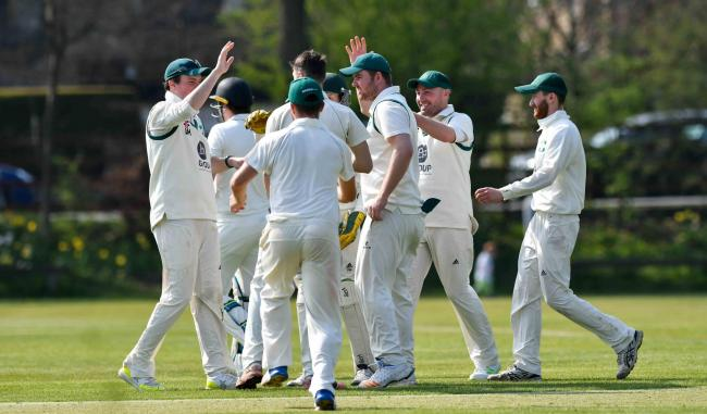 Otley celebrate another Ilkley wicket last Saturday Picture: Andy Garbutt