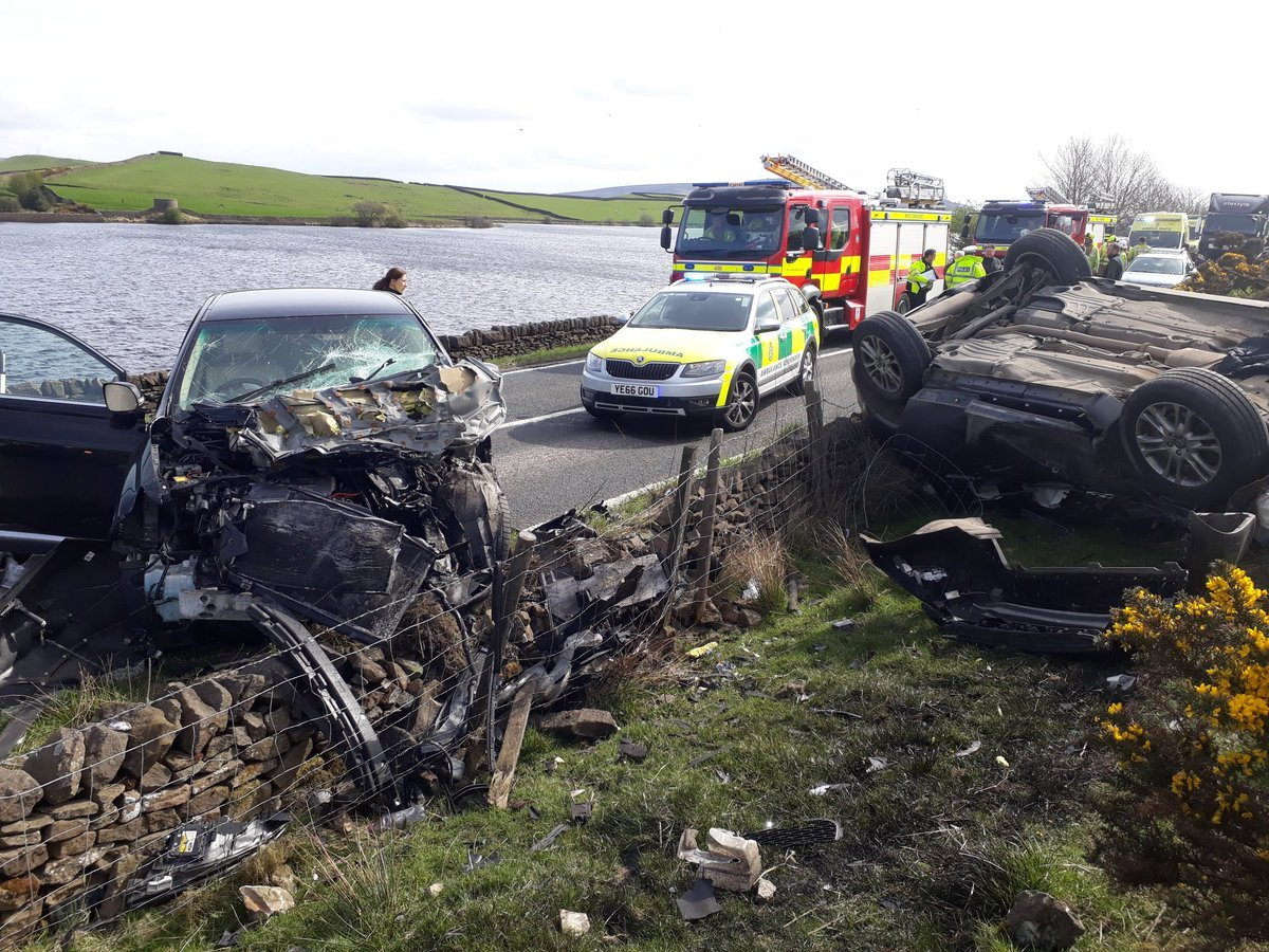 The scene of the crash on the A65 near Chelker Reservoir on April 30, 2018