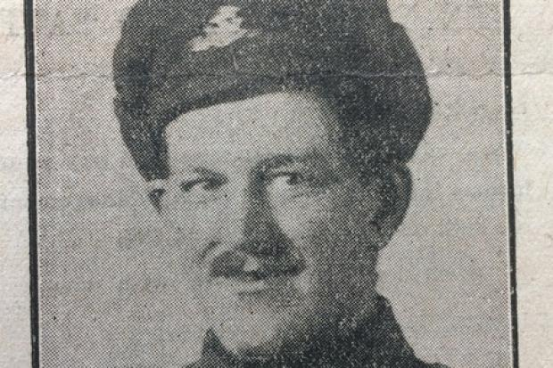 Great War hero Sergeant  Joe Bancroft from Silsden; below, in the First World War trenches