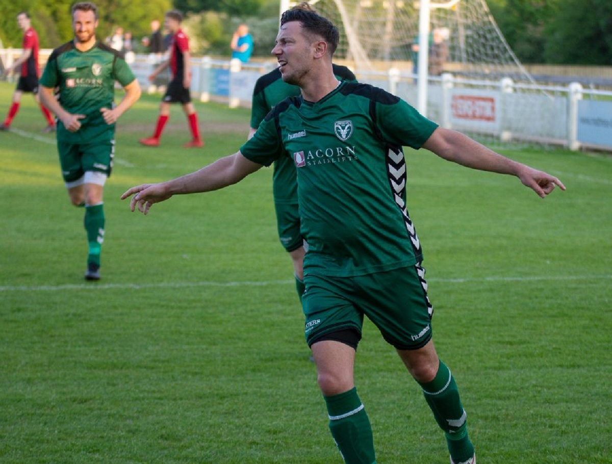 Andy Holden celebrates scoring for Steeton in their league cup final victory. Picture: John Chapman