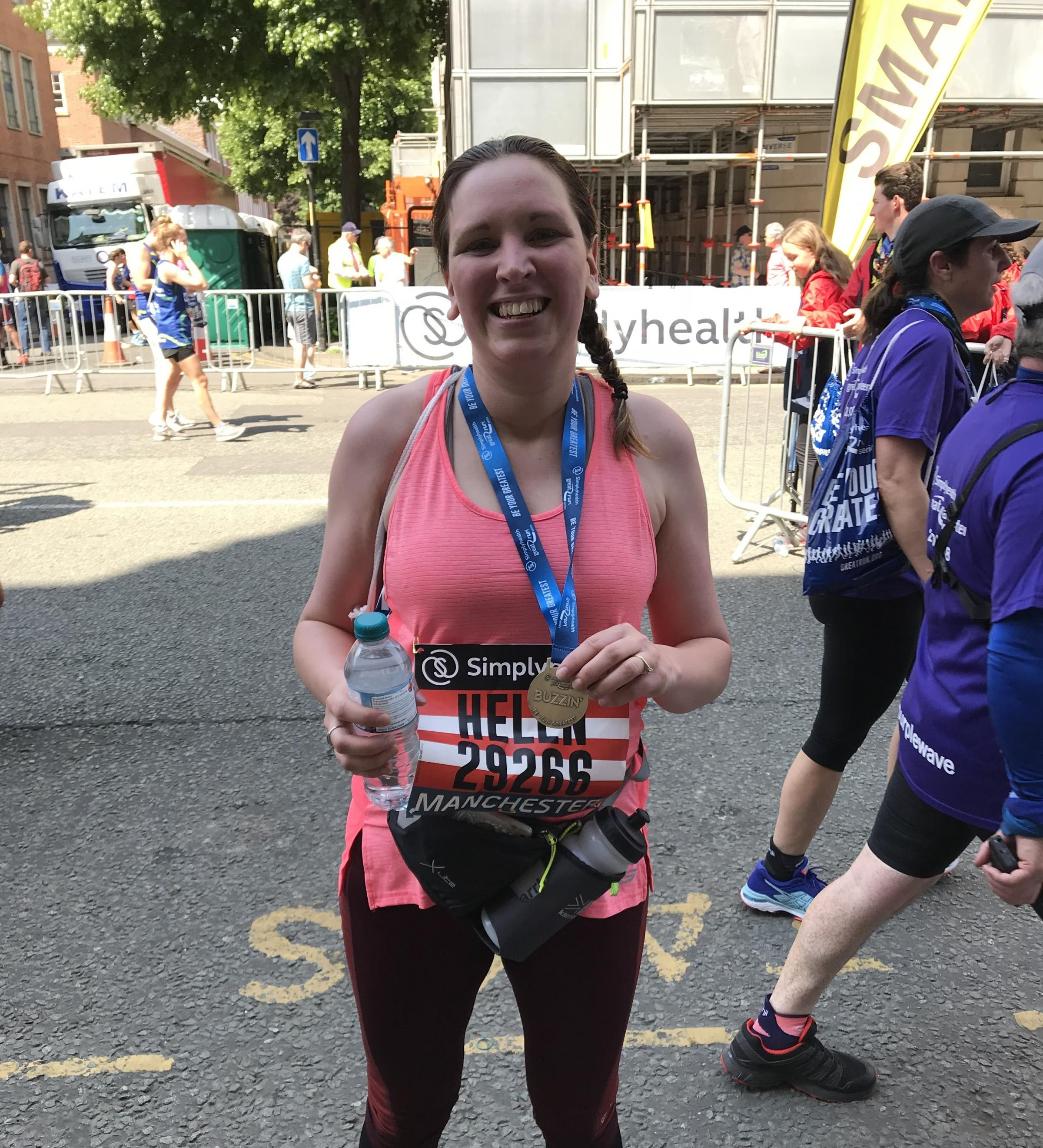 Helen Hirst is pictured after successfully completing the Great Manchester half marathon