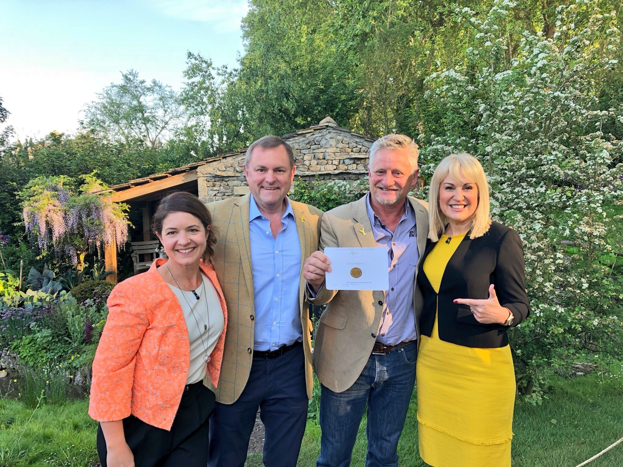 Katherine Potsides, Show Manager RHS Chelsea Flower Show, Sir Gary Verity, Chief Executive Welcome to Yorkshire, Garden Designer Mark Gregory from Landform Consultants, Nicky Chapman