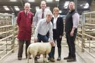 Jeremy Eaton, Anthony Heweston, Minettete Batters and buyer James Robertshaw with the charity lamb from Tom Warmsley.