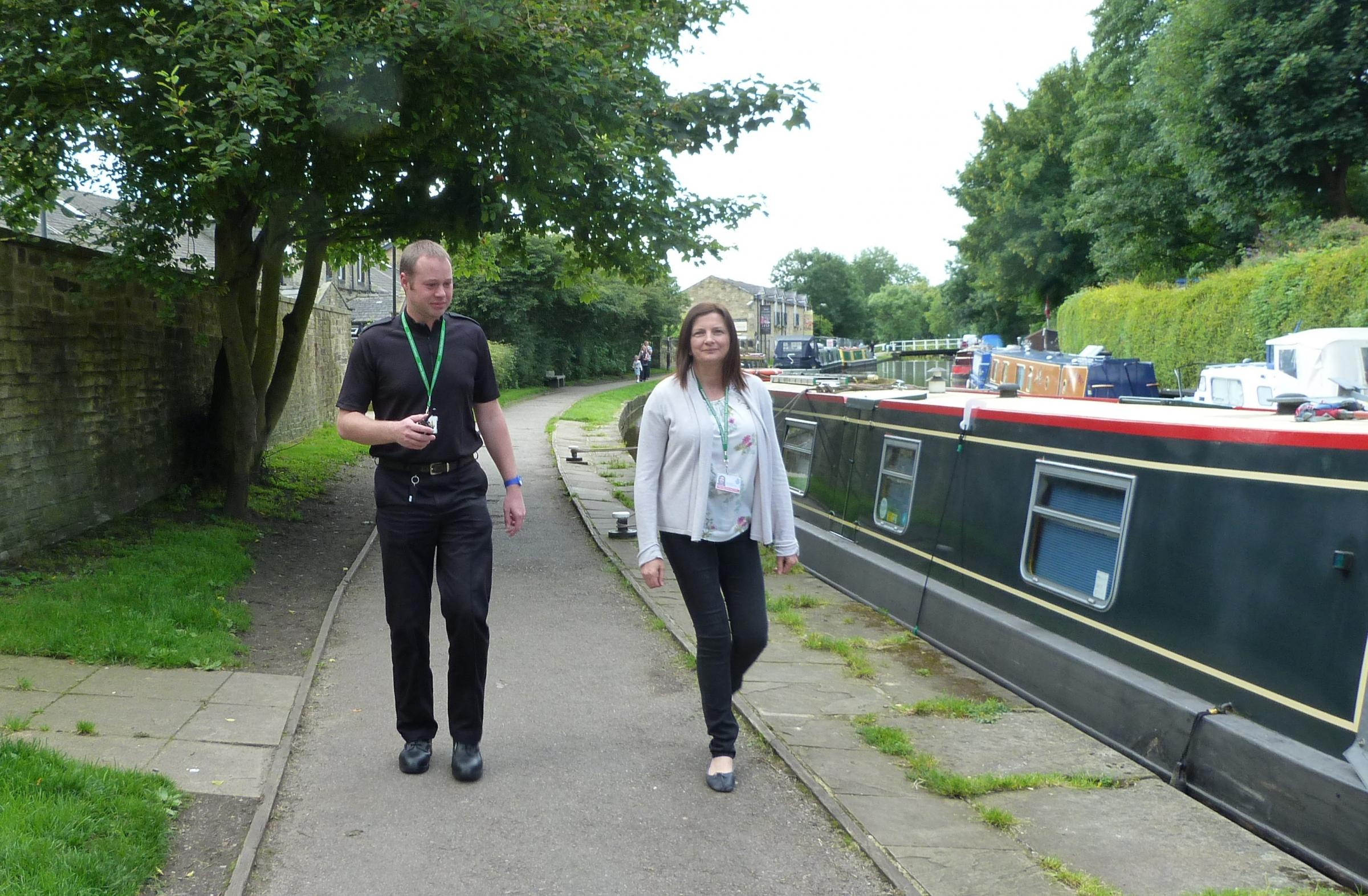 Community safety officer, Stacey Reffin and PC Jonny Stubbs on the Skipton towpath