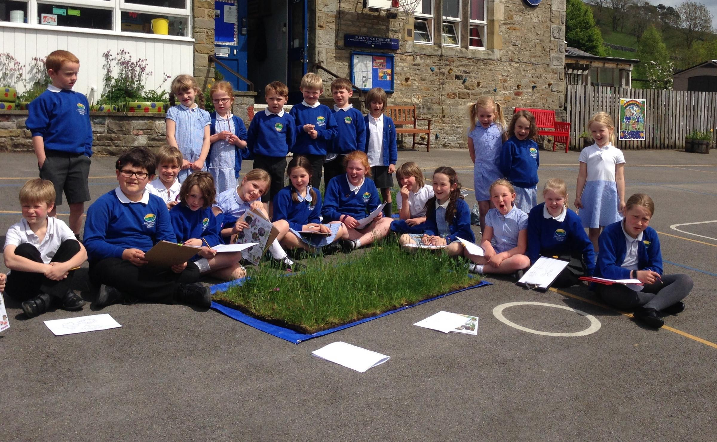 Kettlewell Primary School pupils study their mini-meadow